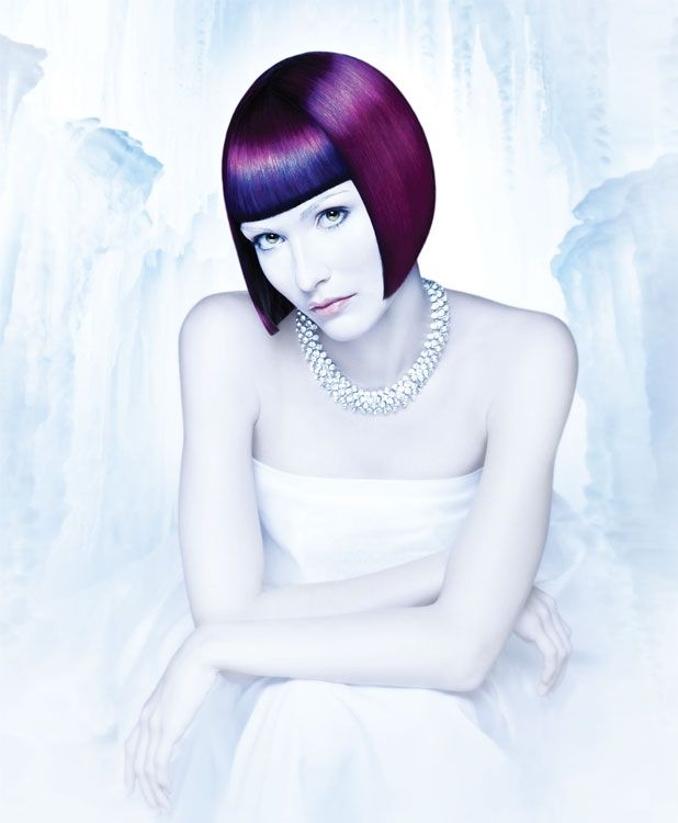 """Crimson Cool -  The most timeless graduated """"Louise Brooks"""" bob is redened through the precise application of rich plum, cobalt blue and crimson. Stylers: Cream Parfait Volumizing Styling Foam and Hyper Shine Repair Spray"""