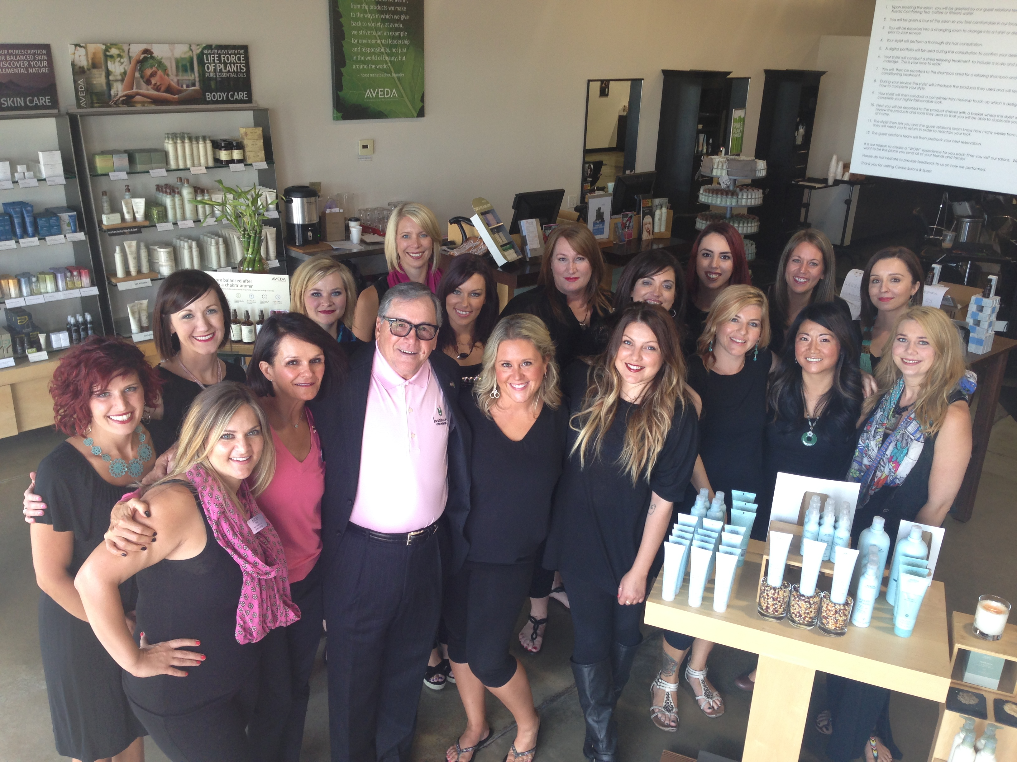 The team from Centre Salon & Day Spa, Tiffany Plaza in Denver, Colorado, owned by James Pacifico.
