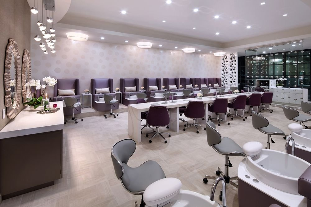 The lounge is home to 18 pedicure thrones and six manicure stations.