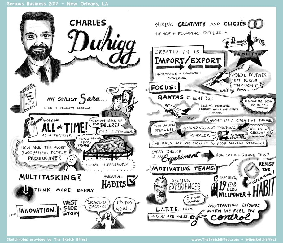 Serious Business Speaker Charles Duhigg, as captured by The Sketch Effect.
