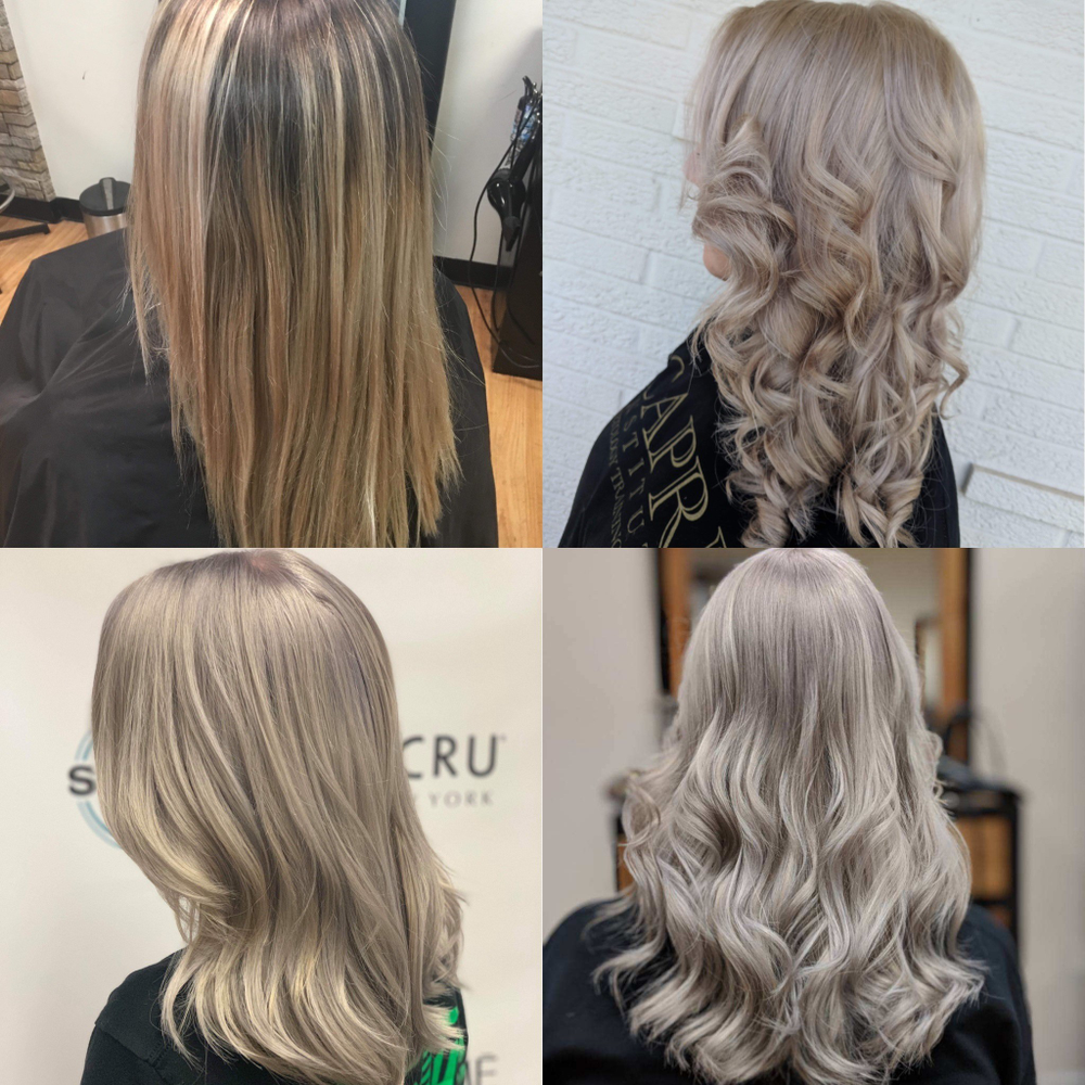 <p><strong>This collage by Chelsea Zimmerman, @cwrayz5, shows a progression over four salon visits. Chelsea's final toning formula was 30 ml LAKMÉ Collage Mix Tones in Silver + 10 ml k.blonde Silver toner + 3 ml LAKMÉ Gloss Color Rinse 10/17 + 2 ml LAKMÉ Collage 10/20 + 20 ml LAKMÉ Collage 0/00. Apply to roots, process 20 minutes and pull through for an additional 7 minutes.</strong></p>