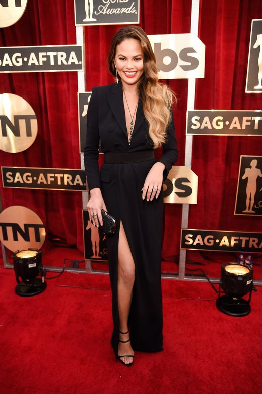 """<strong>CHRISSY TEIGEN,Inspiration: </strong>""""We decided on Essie's <strong>mademoiselle</strong> to create sexy, sheer nails that played off of Chrissy's plunging Dsquared² wrap dress and thigh-high slit,"""" said Celebrity Manicurist, <strong>Kimmie Kyees</strong>."""