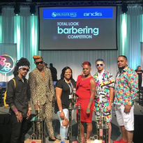 The winners of the Total Look Barbering Competition and their models