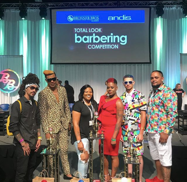 The winners of the Total Look Barbering Competition and their models Andis