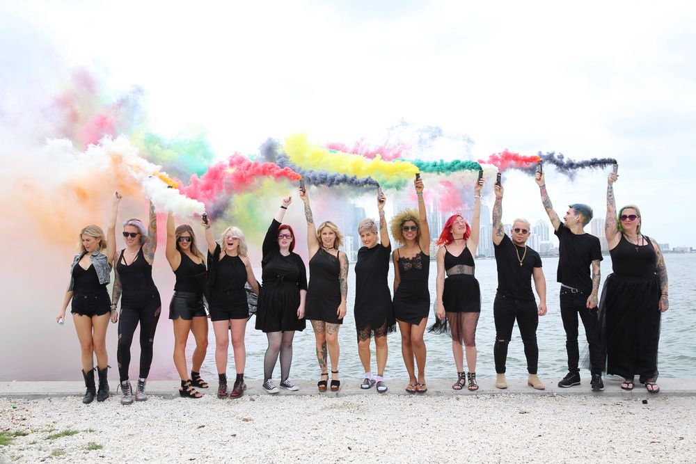 Memebers of Colortrak's Ambassador team pose for a photo to be featured with their upcoming collection. From left to right: @omgartistry, @rainbowrage, @mckenna_mckenna, @haileymahonehair, @rachellaroux, @kateloveshair, @chitabeseau, @leysahairandmakeup, @hairpaintedwithlove, @derekcashstyles, @garretkenroach and @deathbycouture. Not pictured: @stylistricardosantiago and @taylorrae_hair.