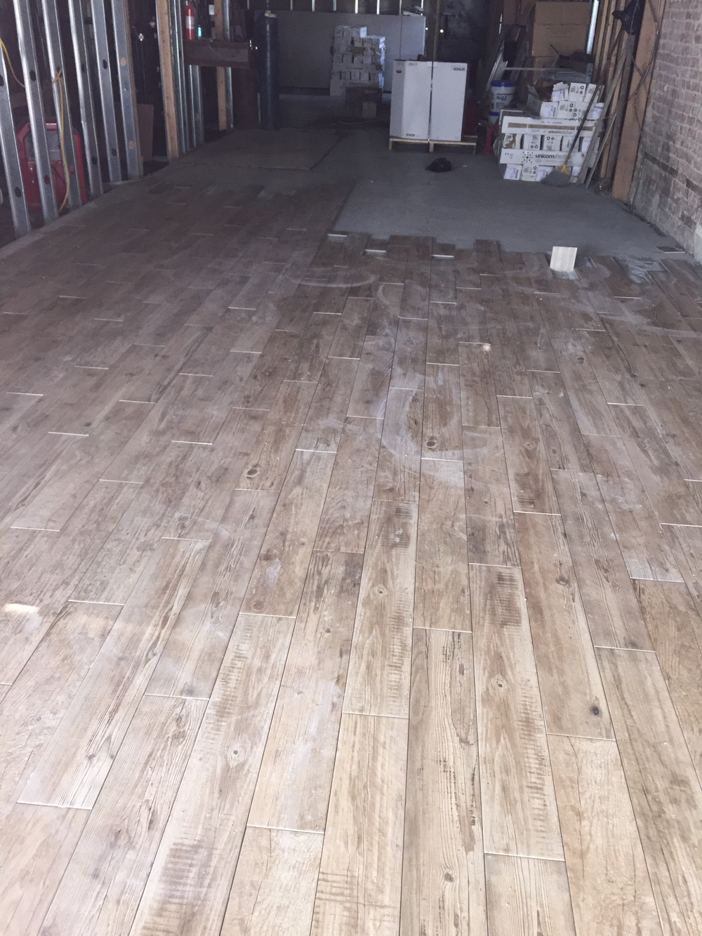 Flooring goes in.