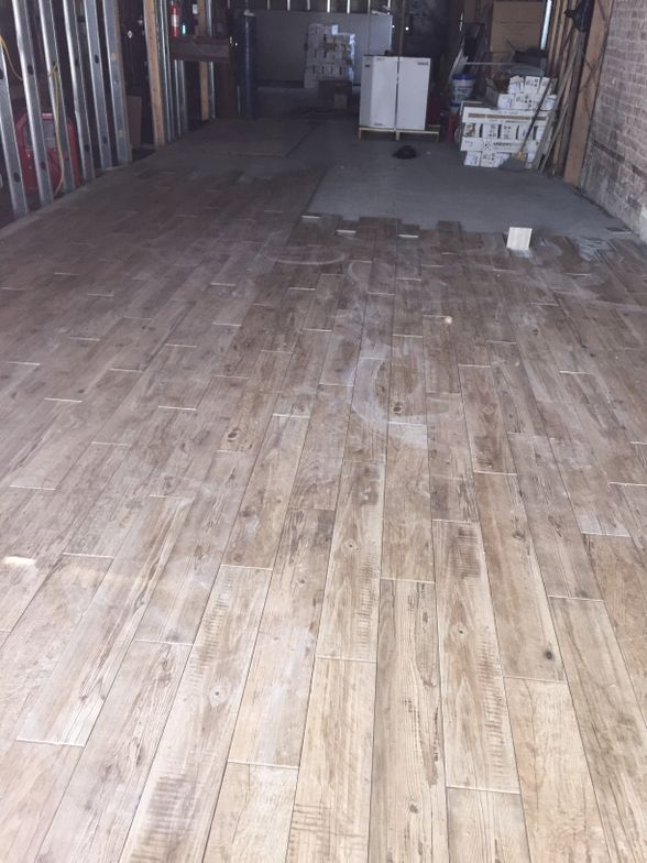 Flooring goes in.