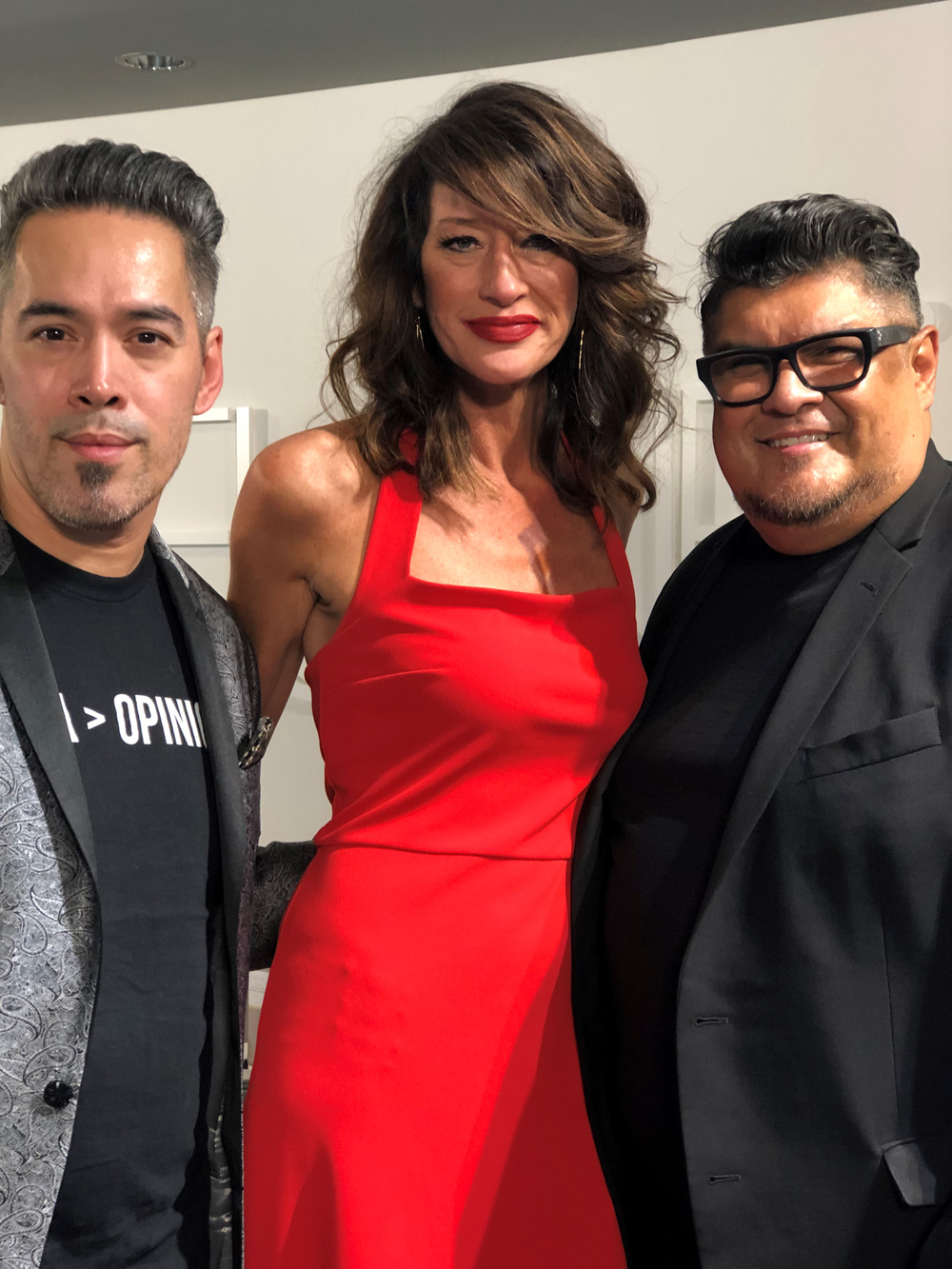 Easihair pro's Lance Courtney, Keune's VP of Education Jessica Mills and Keune Color Ambassador George Alderete at the event's after-party at the Keune Acadmey.