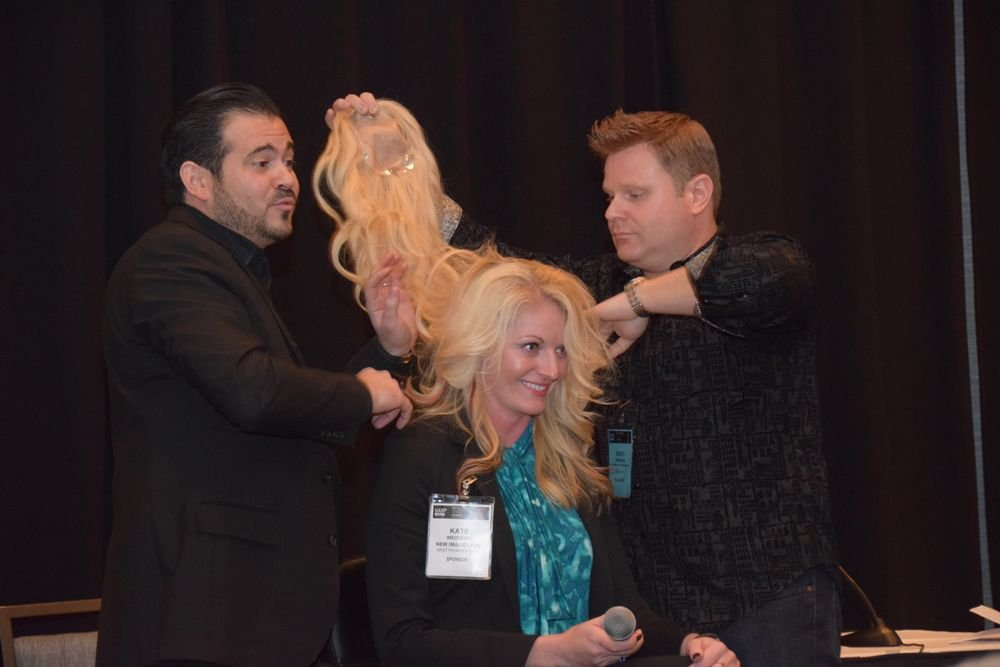 Gianni Fodera, Kate Wessing and Ricky Knowles present on behalf of New Image Labs on track two. Wessing, who does not suffer from hair thinning or loss, demonstrated how a hair system could provide added volume to the everday client.