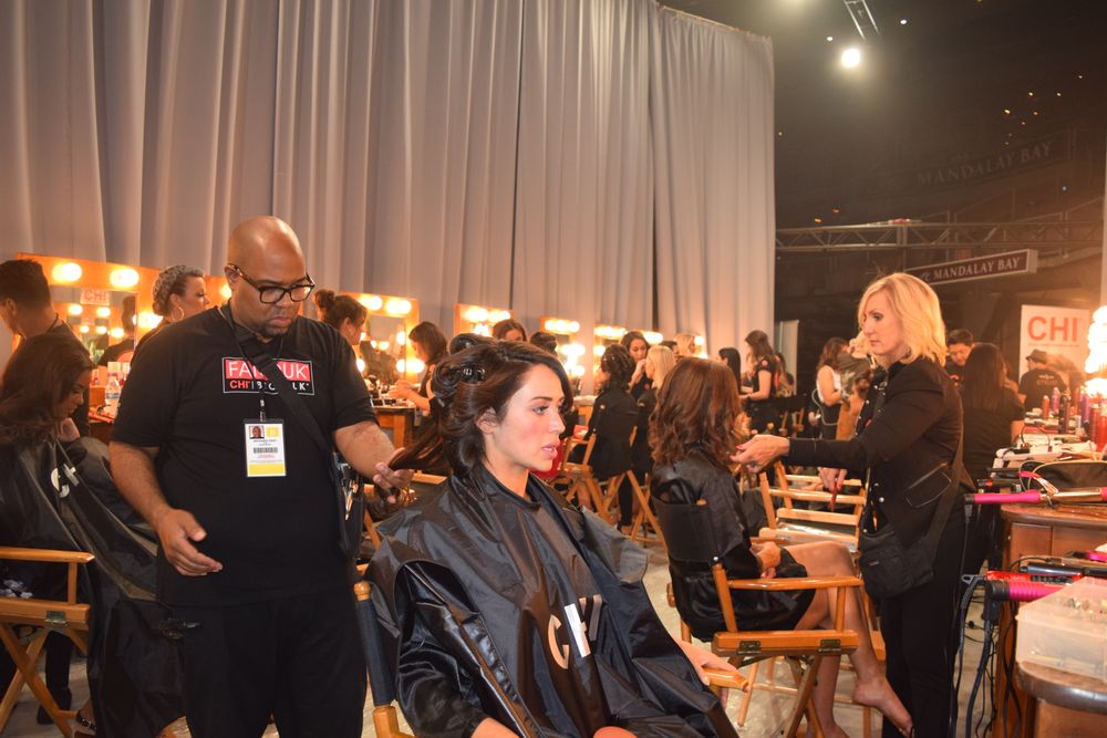 CHI stylists backstage at the Miss USA prelims.