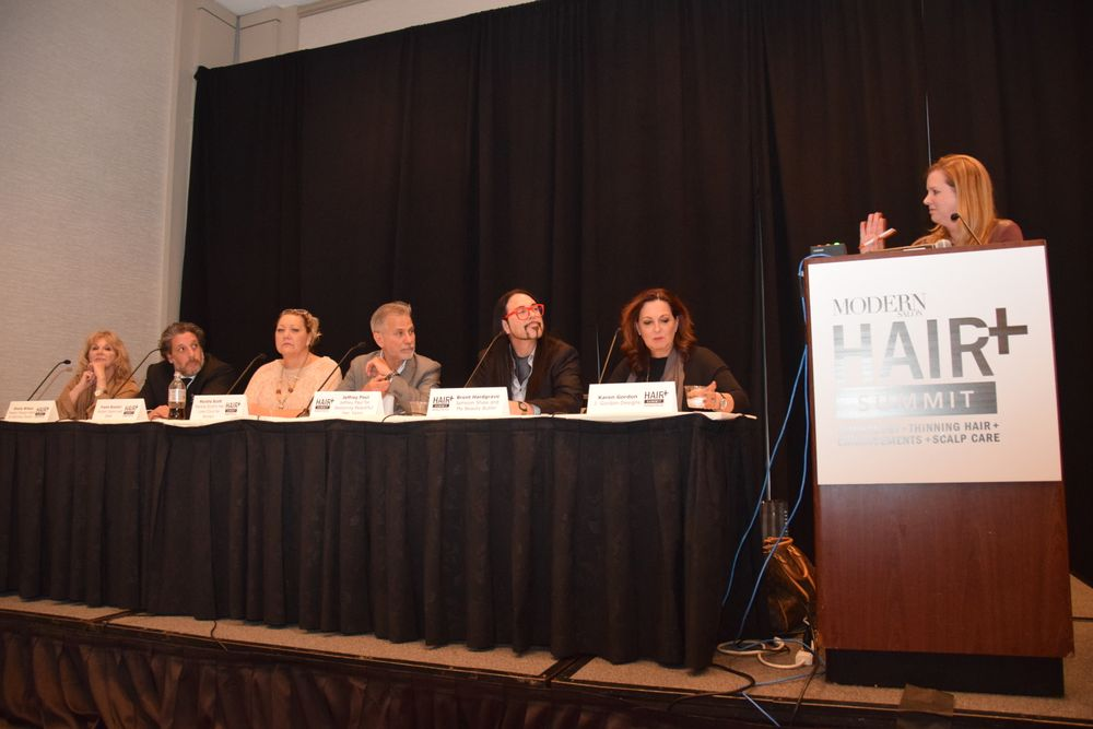 Stacey Soble leads the business panel at the end of day two of the HAIR+ Summit.