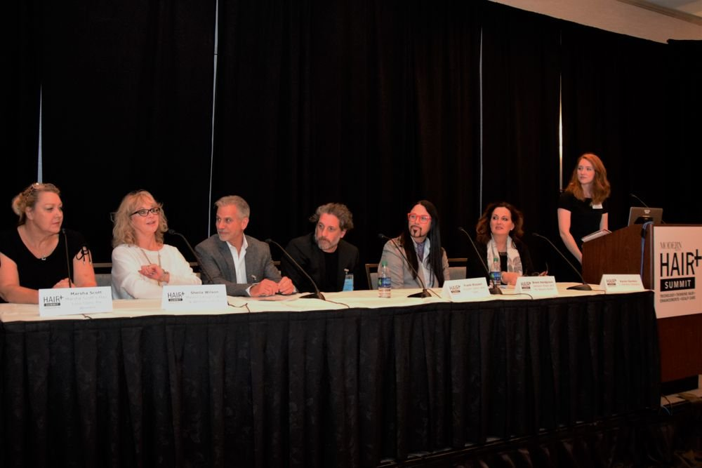 MODERN SALON Senior Editor Lauren Quick (far right) leads a panel discussion with (from left to right) Marsha Scott, Sheila Wilson, Jeffrey Paul, Frank Rizzieri, Brent Hardgrave and Karen Gordon.