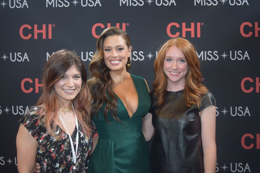MODERN SALON's Jamie Newman and Lauren Quick with backstage host and super model Ashley Graham.