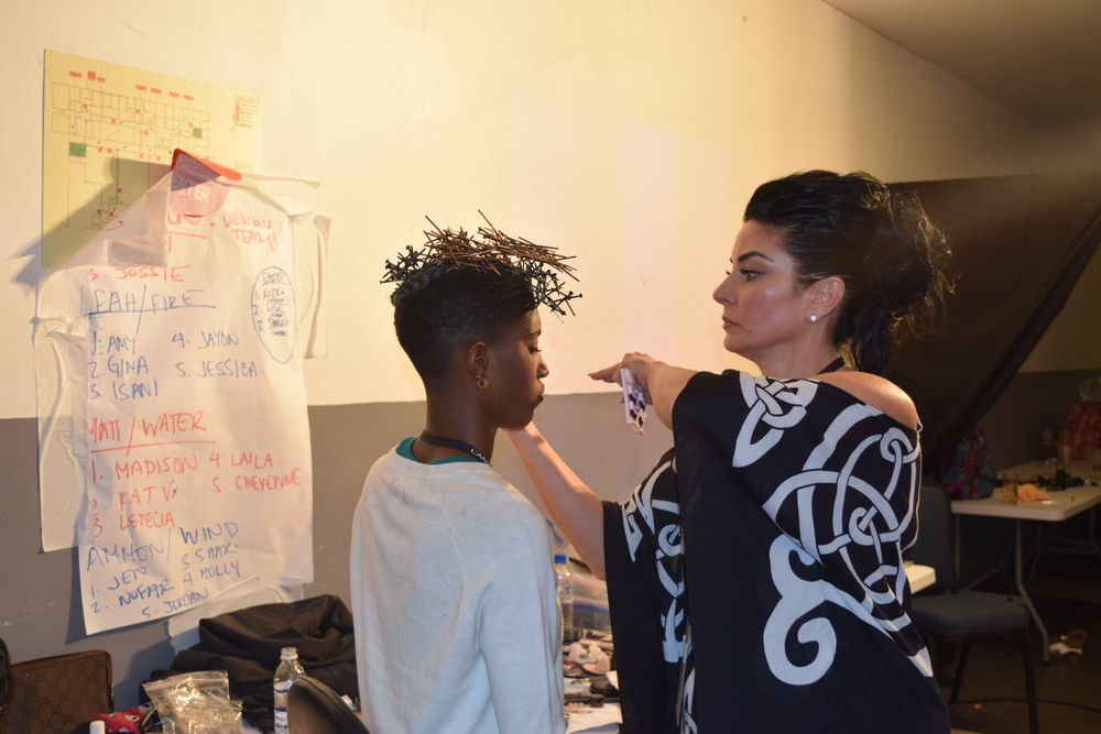 Makeup Artist Lizette Zlogar with a model before the B.I.G. Show.