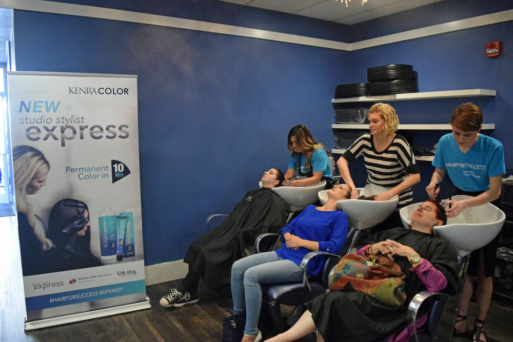 """Stylists colored 65 clients on Sunday.<br /><br />""""About to board my flight back to CA, and I miss the weekend already!"""" Canola (far left) said. """"Great experience, great weekend, beautiful connections."""""""