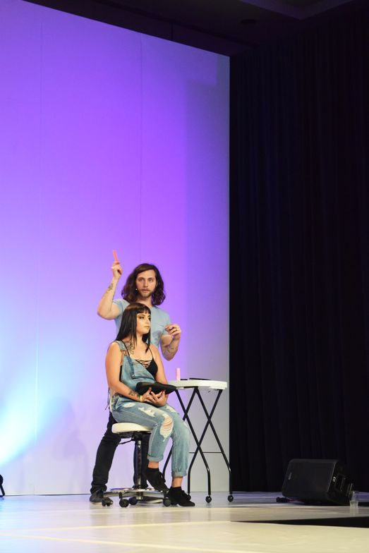 <strong>Jacob Khan</strong> (@jacobhkhan) on the Hair Color Stage for the <strong>Cosmoprof</strong> LxPxJ presentation.