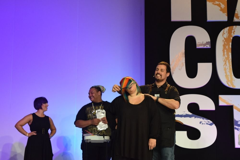 <strong>Phil Ring</strong> (@phildoeshair) on the Hair Color Stage for the <strong>Cosmoprof</strong> LxPxJ presentation.