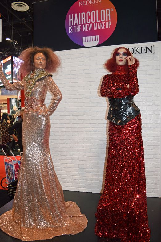 Dramatic models drew crowds at the Redken booth.