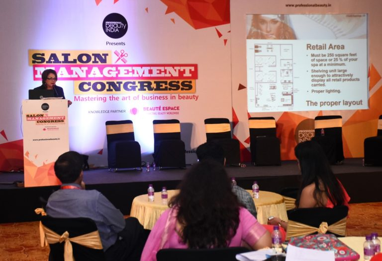 "Lydia Sarfati presenting ""How to Make Skin Care Services Work for Your Salon"" at Professional Beauty Mumbai 2017"