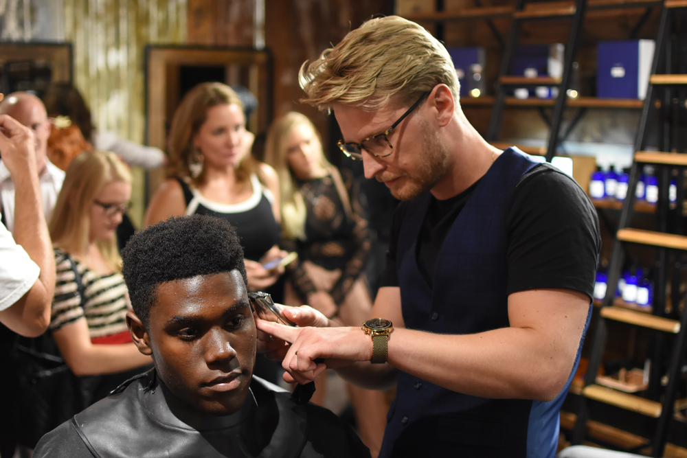 Barber James Lawson Beaumont at work.
