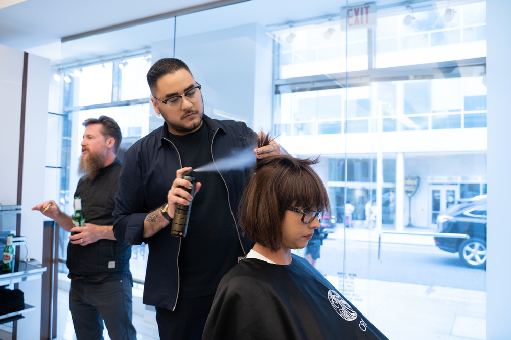 Dry styling at the Sassoon Salon, NYC, using Oribe Hair Care products.