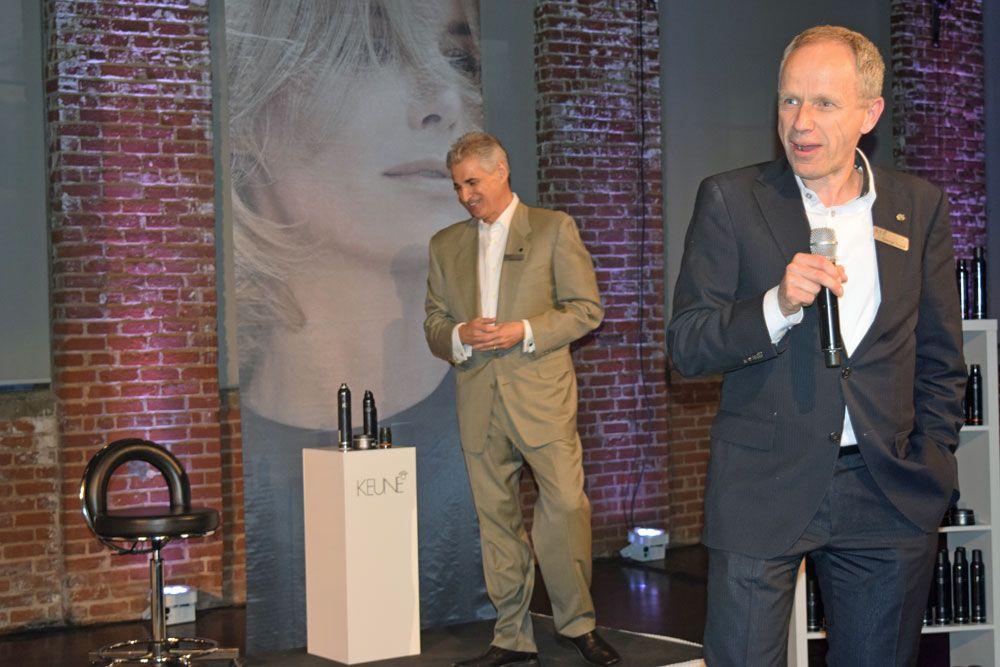 Keune COO Andy Biazis and CEO/President George Keune Jr. onstage before model presentations.