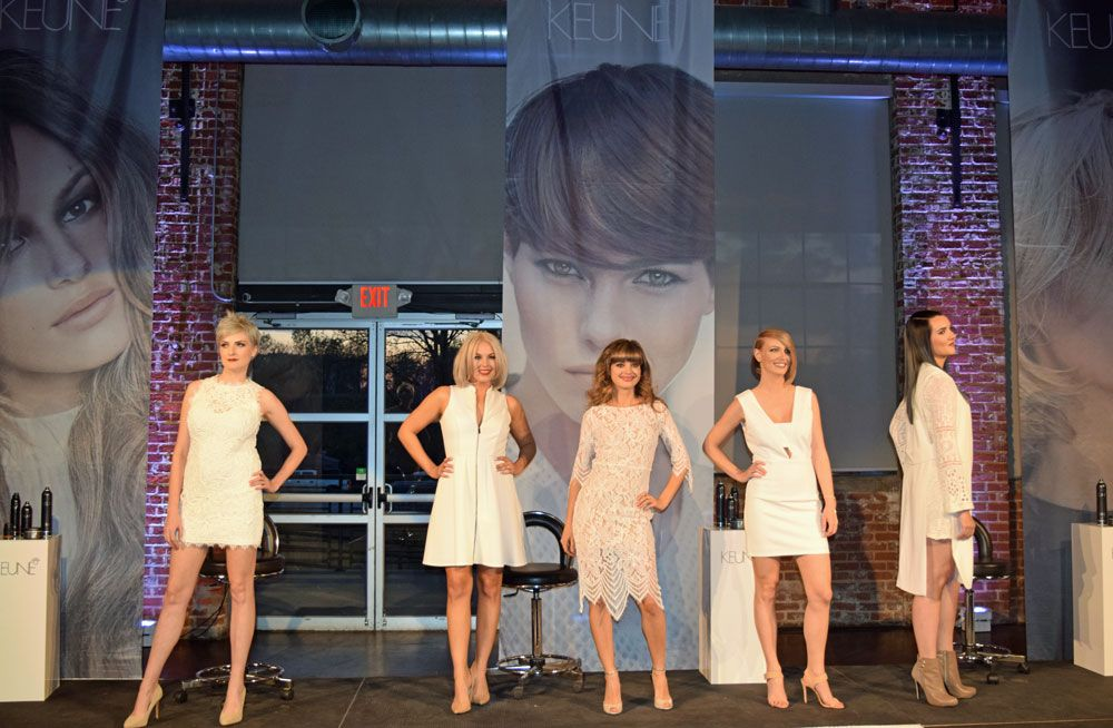 Models onstage at the VIP Launch Party presentation of Keune's Luxurious Minimalism collection.
