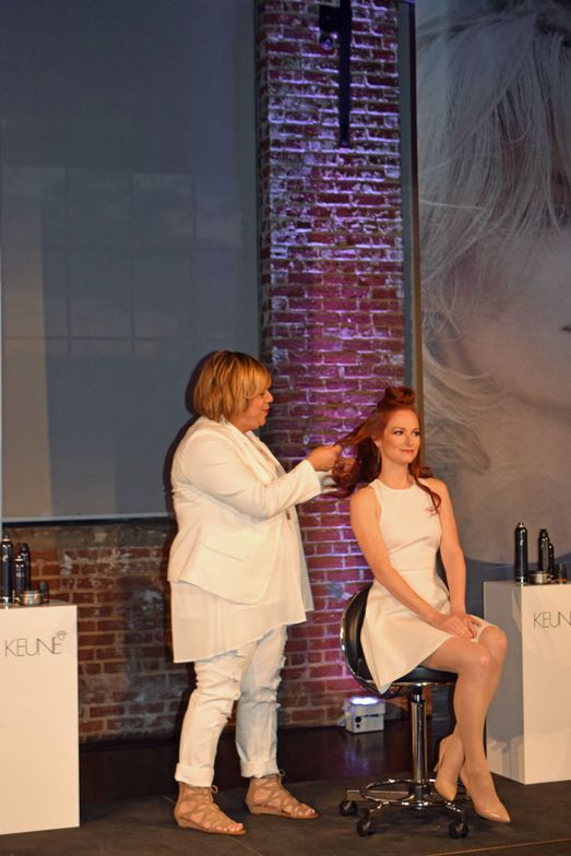Gaby Miley and model onstage