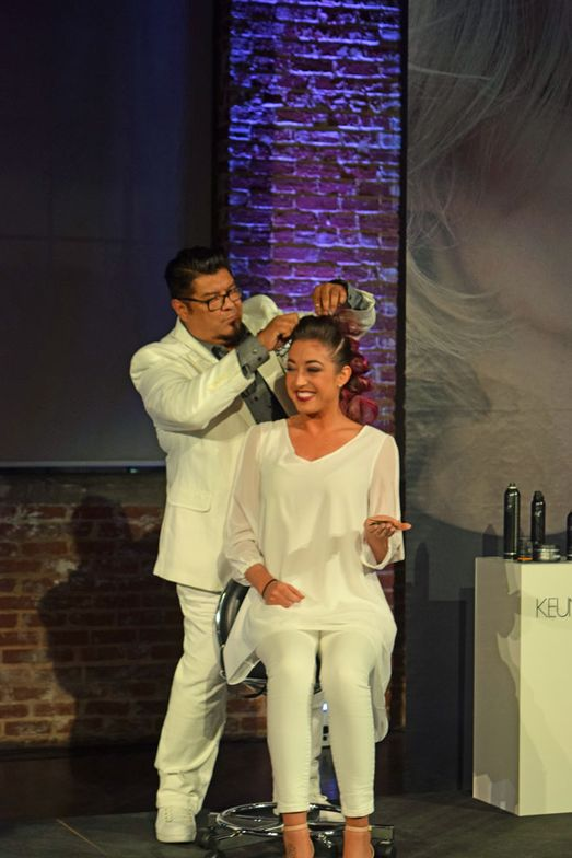 George Alderete onstage with his model