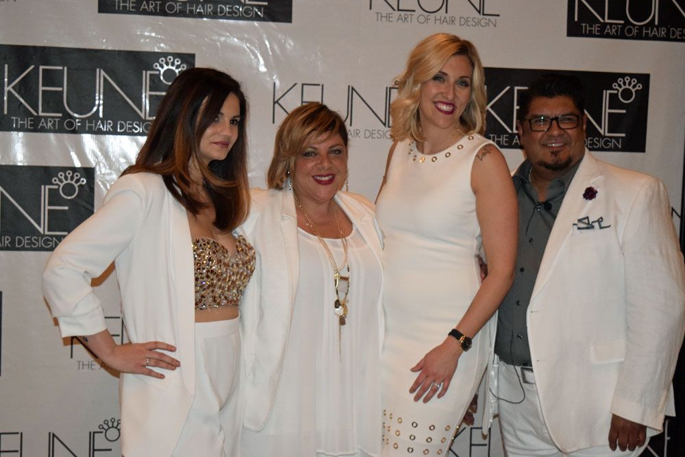 Keune artists Carrie Juhasz Horton, Gaby Miley, Amber Skrzypek and George Alderete on the white carpet.