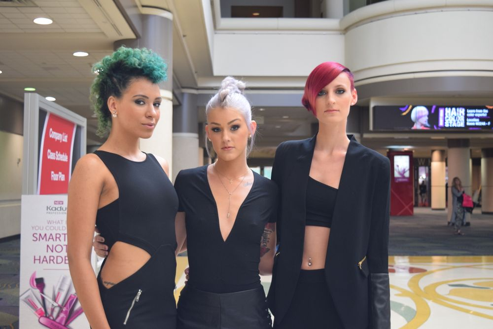 L'Anza models show off the latest hair trends: texture, braids and bright color.