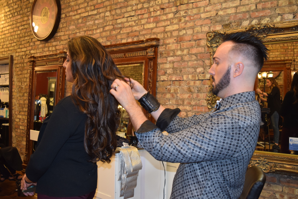 The entire lightening application, processing and Wand-ing, rinsing and toning time totaled about 90 minutes. All that long, luscious hair took about the same about of time to blowdry and curl.