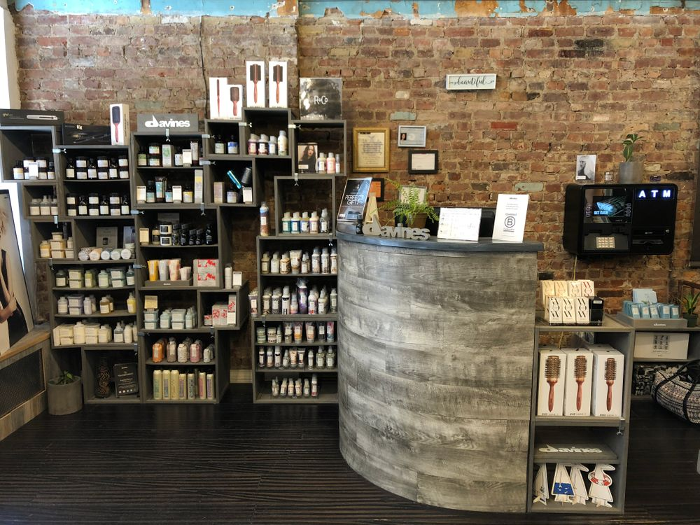 The reception and retail area at David Ryan Salon.
