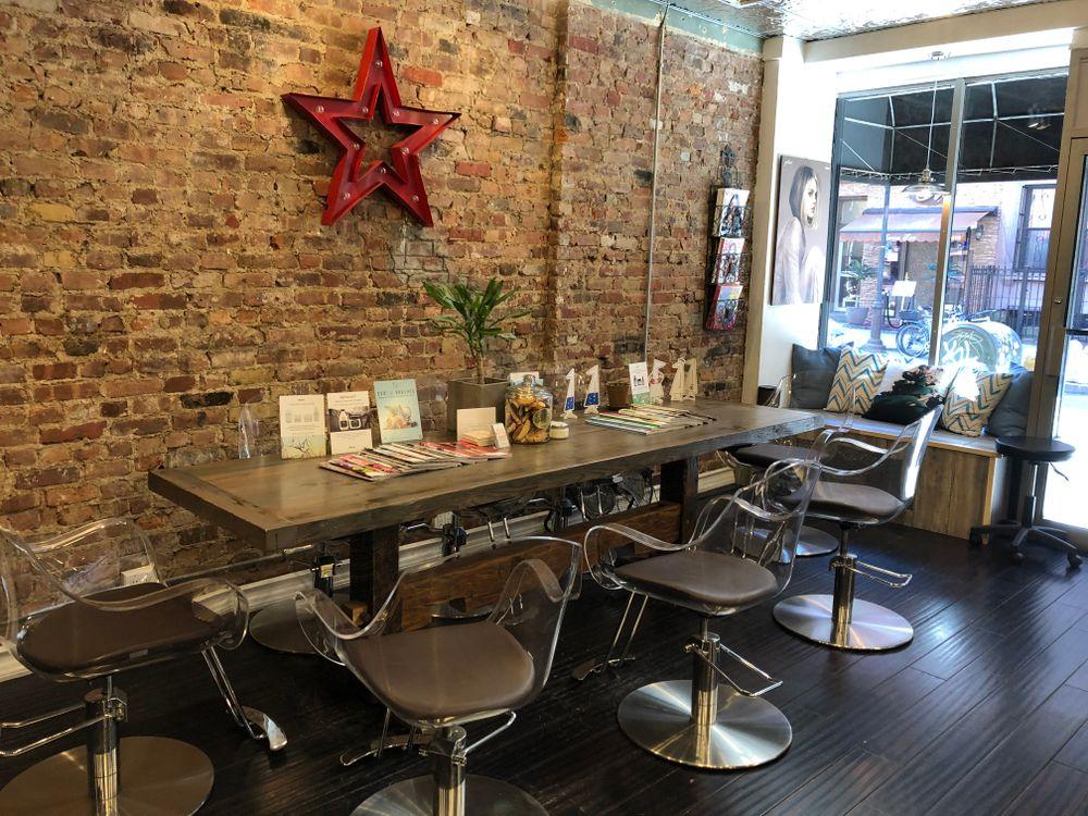 The waiting area and table at David Ryan Salon.