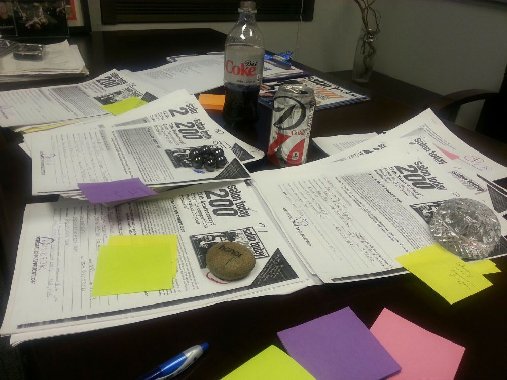 Executive Managing Editor Deb Ogilvie relies on colored Post Its to keep her organized and a steady supply of Diet Coke to keep her focused while judging.