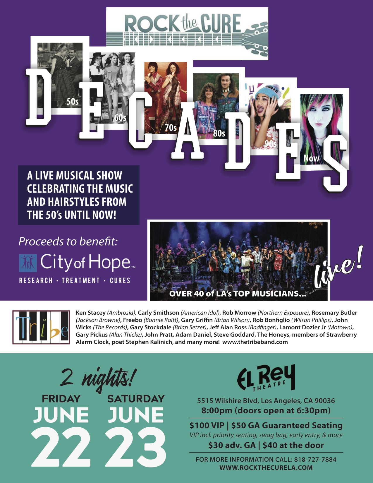 The concert will be at The El Rey Theater on Friday and Saturday, June 22 and 23, at 8pm; doors open at 6:30 pm for a Silent Auction.