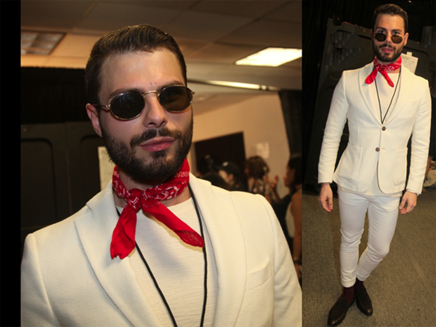 Daniel Matejczyk, Fashion Editor whiteMAD, wearing white, with a jaunty red kerchief, a Zara jacket and shirt, H&amp;M pants, Kazar shoes, vintage glasses, backstage at Libertine.<br />Photo: Helen Oppenheim
