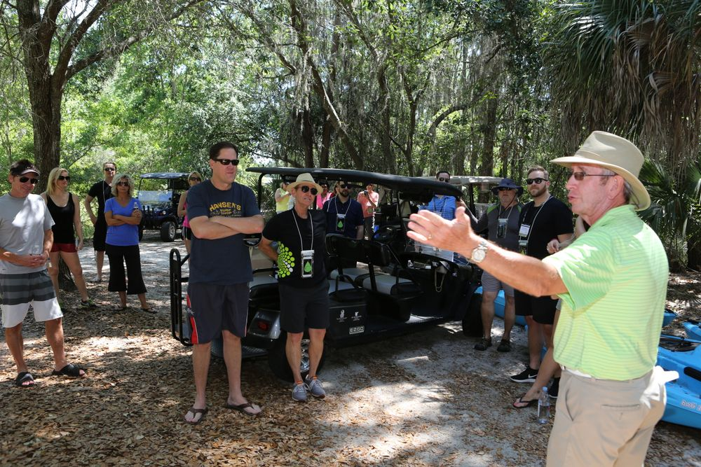 One of the eco-tour groups get last minute instructions on how to launch their canoes and exactly where they might spot Allie the alligator and her babies