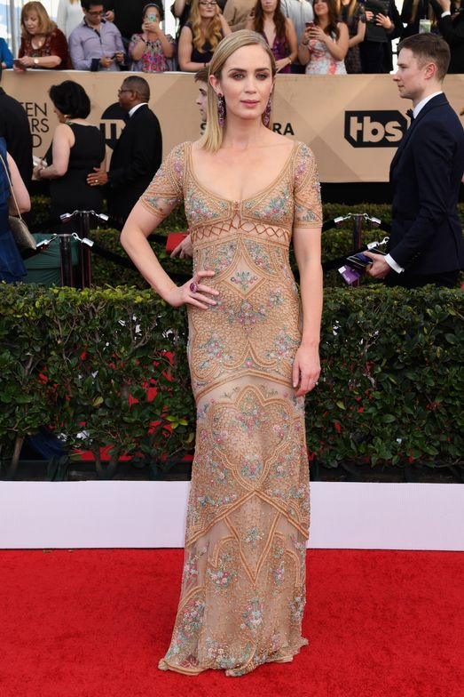 """<strong>EMILY BLUNT, Inspiration: </strong>""""We started by shaping Emily's nails into a clean, classic oval shape and followed with two coats of Essie's <strong>mademoiselle</strong> for a soft wash of color. The sheer pink shade complemented Emily's fair skin tone as well as her nude embellished Roberto Cavalli gown,"""" said Celebrity Manicurist, <strong>Carla Kay</strong>."""