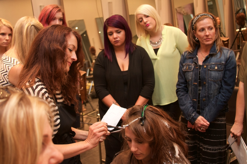 Eva Scrivo demonstrating the art of balayage.