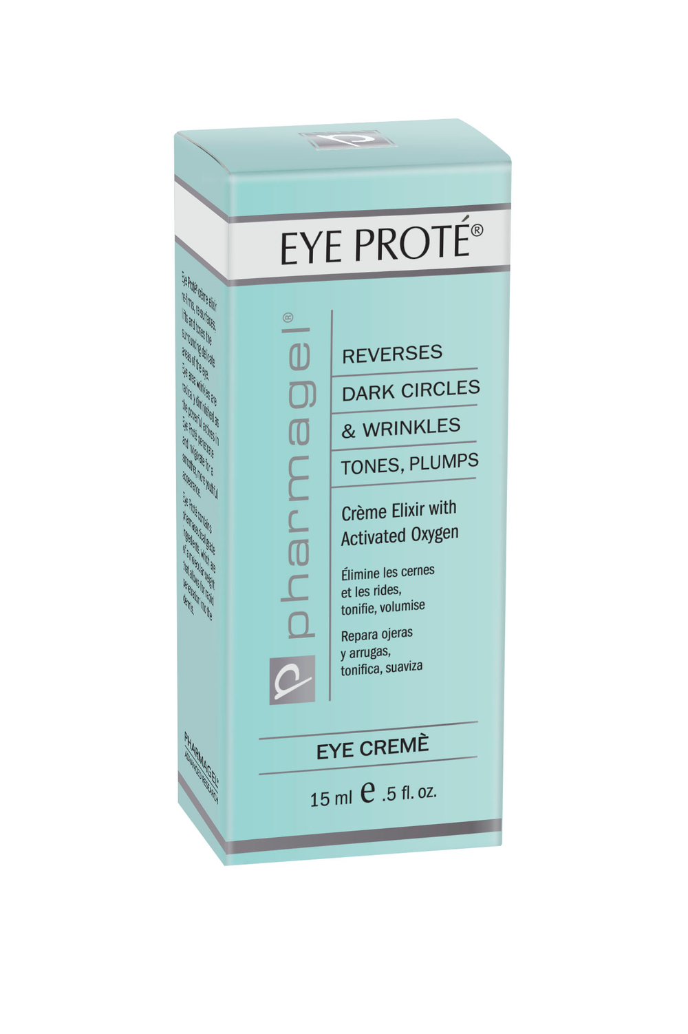 EYE PROTÉ  Reverses eye area wrinkles, puffiness and dark circles, as well as lost tone and elasticity. The special formulation contains Perfluorodecalin, a highly activated oxygen booster that has been medically tested for its effectiveness. Perfluorodecalin breathes life into cells surrounding the delicate eye contours. EYE PROTÉ contains pharmaceutical grade ingredients of a specific molecular weight that allow for rapid penetration of the product into the dermis. This rapid penetration gives lasting results when used daily. EYE PROTÉ is fragrance-free and is noncomedogenic (will not clog pores).