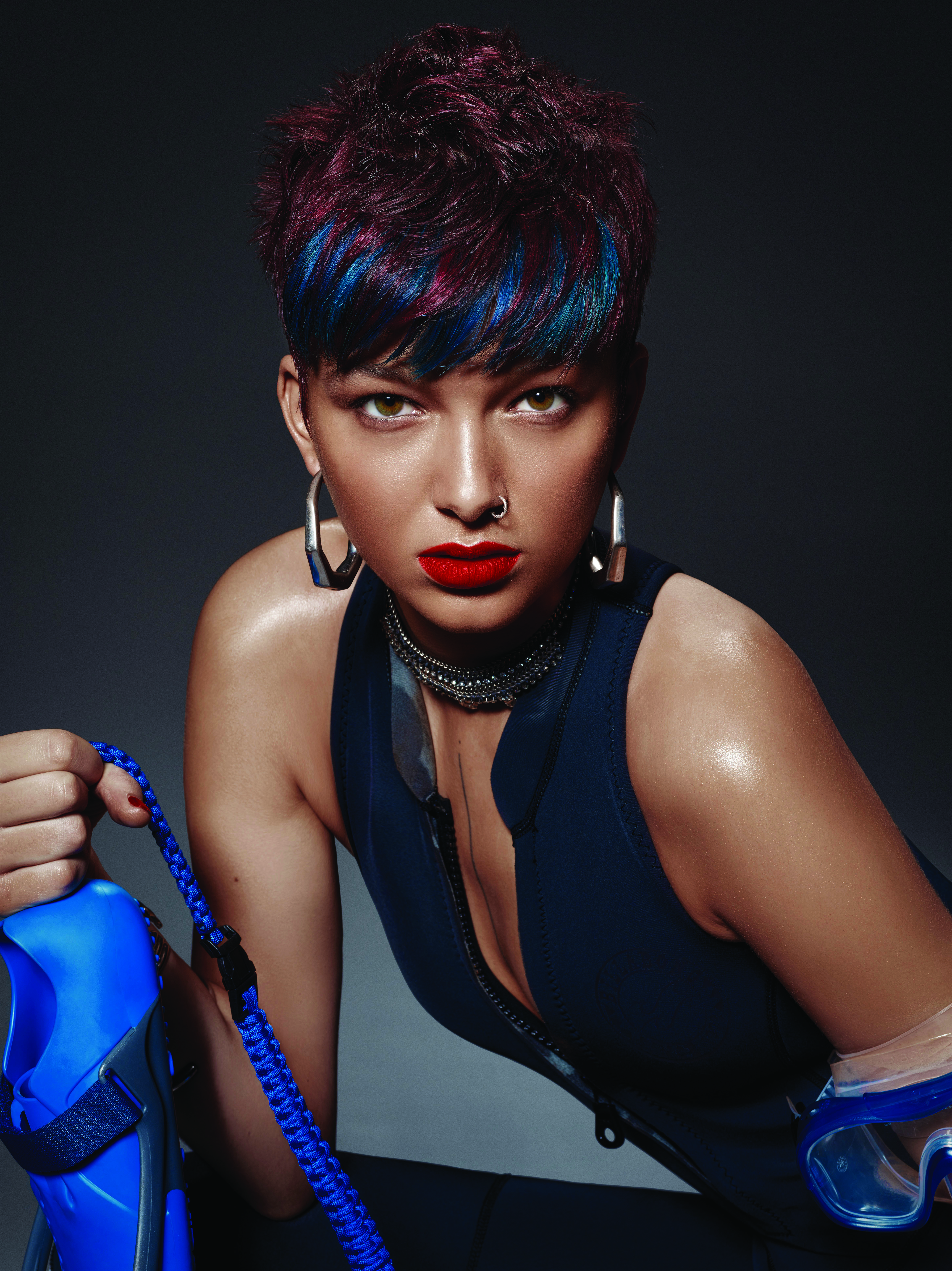 Burgundy and Turquoise Color-Blocked Hair by Framesi