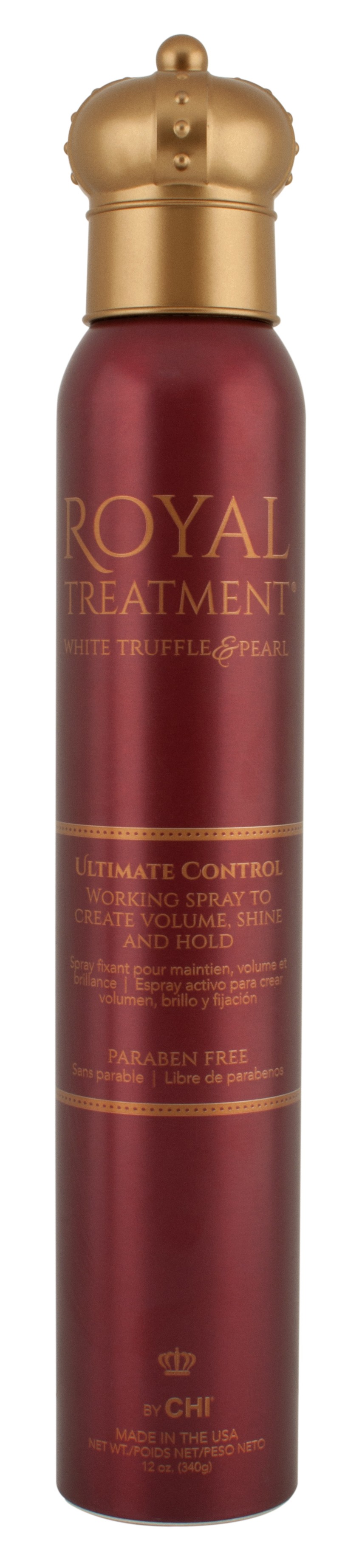 <strong>Royal Treatment Ultimate Control Hairspray:</strong> A versatile spray with white truffle and pearl provides a dual function for your styling and finishing needs.