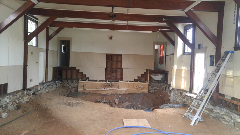 When contractors removed the old, uneven wood flooring, they found a crumbling foundation.