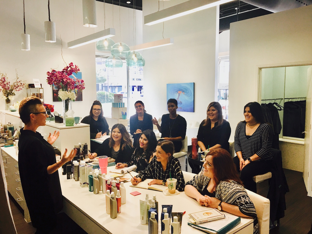 A product education class in progress at Fringe Salon and Color Bar in Houston, TX.