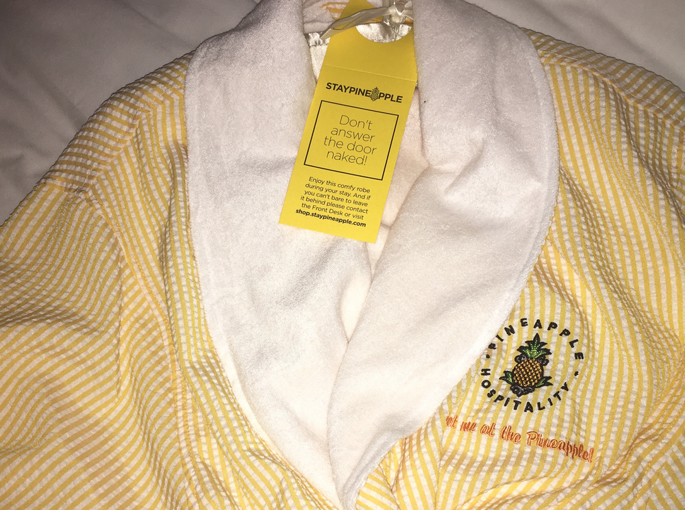 "The pineapple-colored seersucker robe came with a warning, ""Don't open the door naked!"""