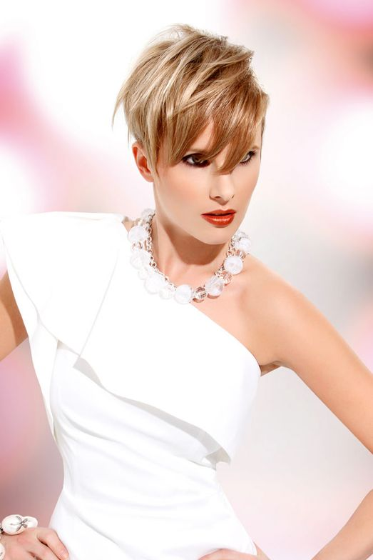 Elizabeth Stenstrom, L Salon & Color Group, San Mateo, California.  Fashion: David Meister