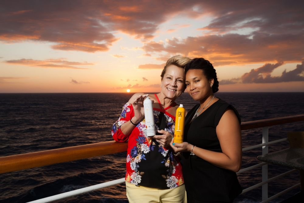Lianne Hanford and Keva Davis, GKhair educators, on the Carnival Sensation.