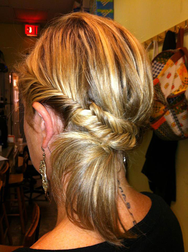 "Fishtail updo I created when told to ""fix"" her messy bun she had before"