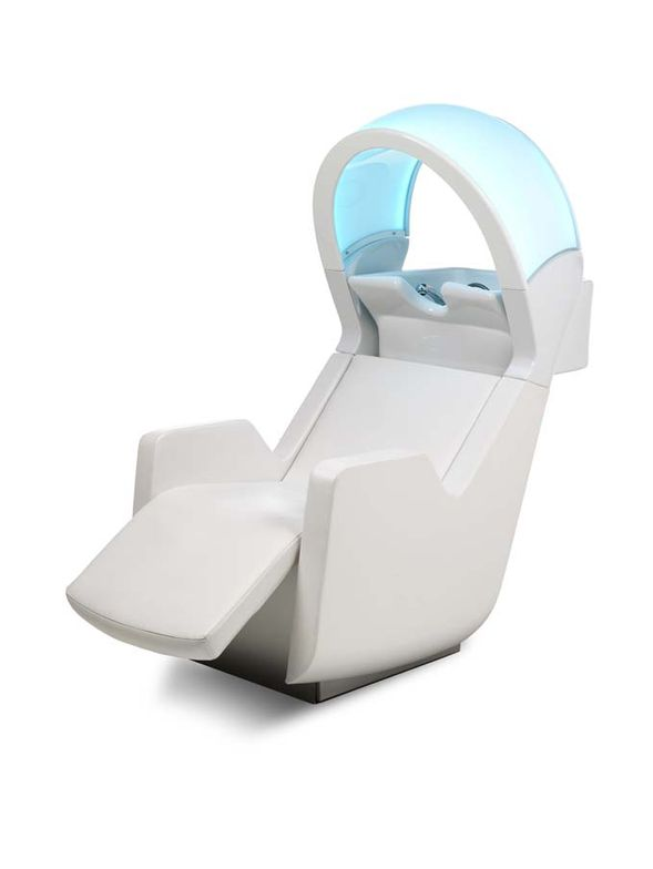 The Ultrawash Kromo by Gamma and Bross is a shampooing unit featuring backwash with titlting bowl. the client is positioned in the chair in a reclined position and is treated to chromotherapy, or color therapy, a method of treatment that uses the visible spectrum of colors for relaxation purposes. theunit also features an air massage system. (gammabross.com)